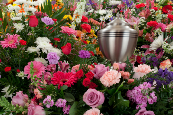 Funeral Urn with Flowers