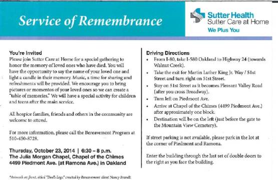 Service of Remembrance - October 23, 2014